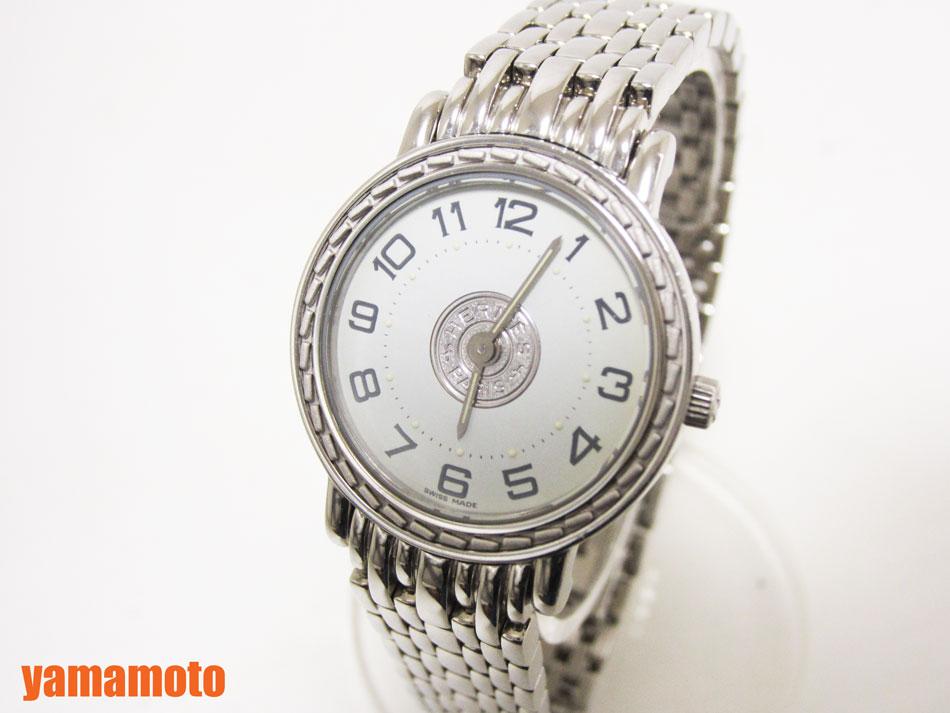 HERMES エルメス セリエ レディースウォッチ 腕時計 ホワイトクォーツ ステンレス SE4.210 美品 【中古】