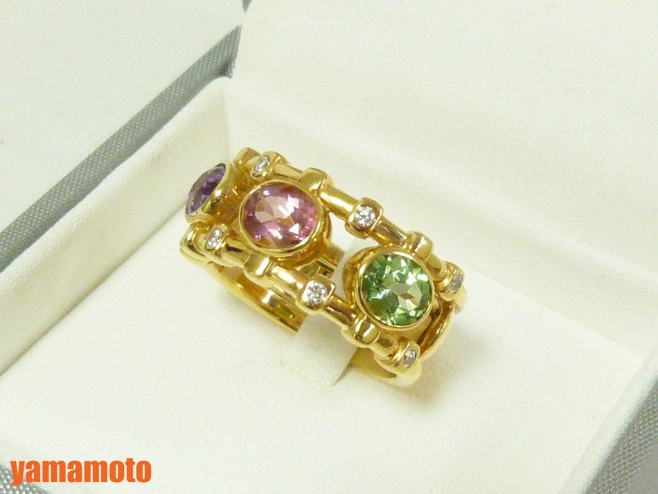 Christian Dior クリスチャン ディオール リング 指輪 レディース カラーストーン ダイヤ 750 K18 54 美品【中古】