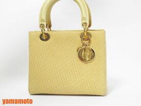 Christian Dior クリスチャン ディオール レディディオール ハンドバッグ ストラップ付き 2WAYバッグ ショルダーバッグ スエード  イエロー 美 ccd390df20