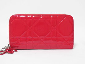 Christian Dior クリスチャン ディオール ラウンドファスナー財布 エナメル レッド チャーム【中古】