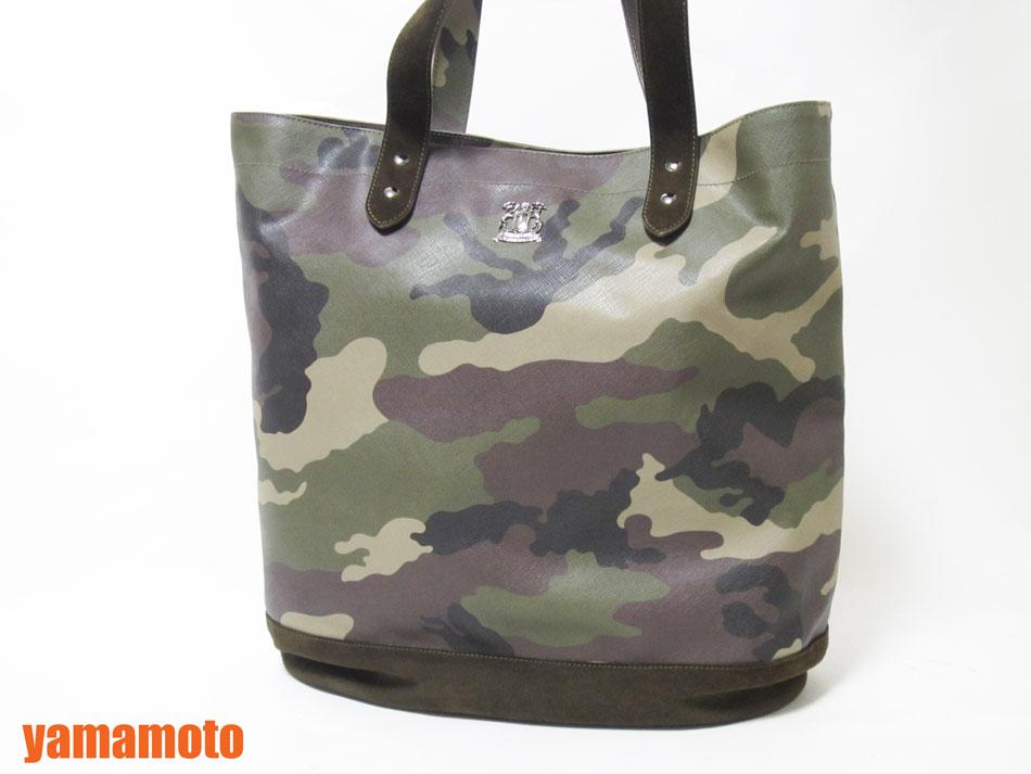 TRUSSARDI トラサルディ トートバッグ ショッピングバッグ VERDE MILITA camouflage saffiano SHOPPING 迷彩 縦型 美品 【中古】