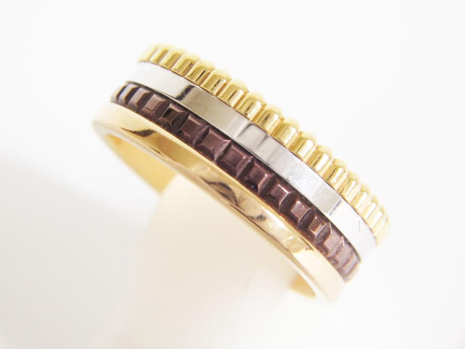 BOUCHERON ブシュロン キャトルクラシック リング スモール 指輪 750 K18 3カラー ブラウンPVD JRG00290 ♯51 美品 【中古】