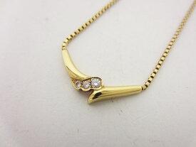 POLA ポーラ ネックレス K18 イエローゴールド 3P ダイヤモンド 0.09ct 保証書 美品【中古】