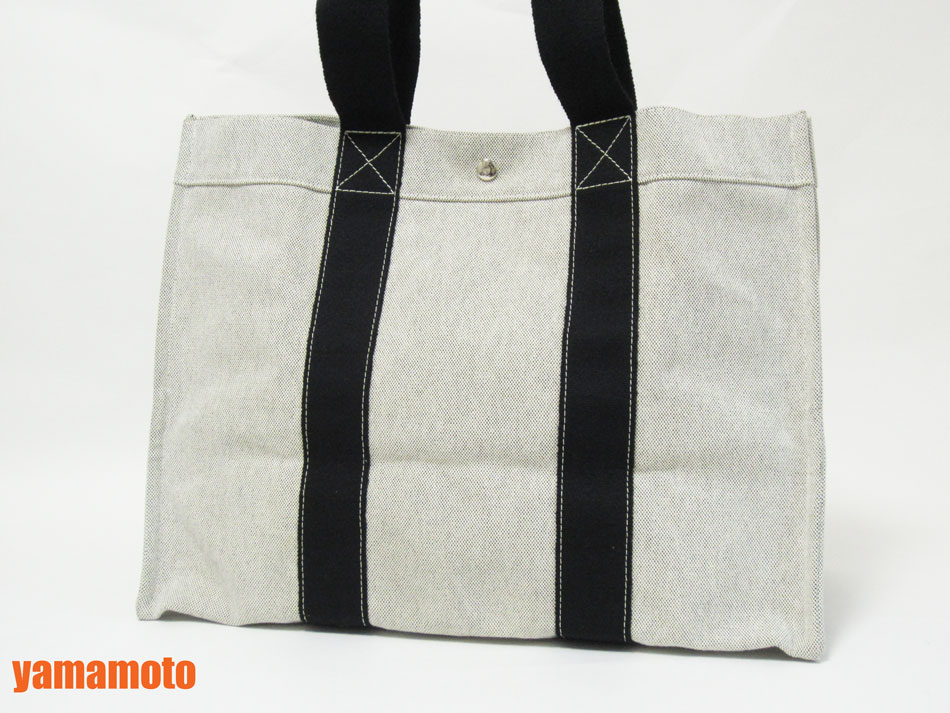 HERMES エルメス ドーヴィルGM トートバッグキャンバス ブラック ホワイト 美品 【中古】