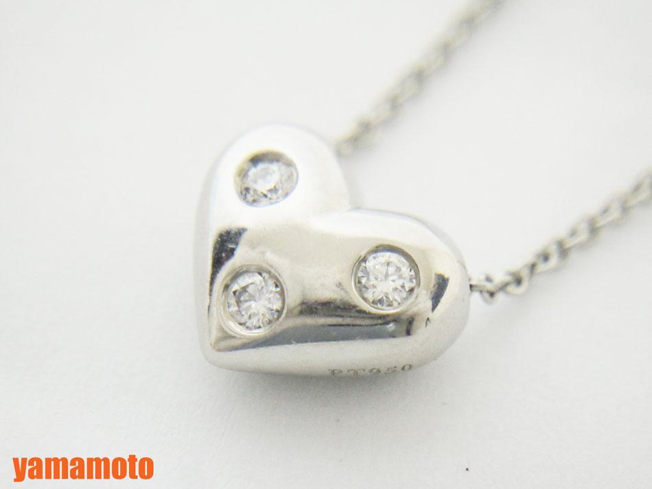 TIFFANY&CO. ティファニー ドッツハート ネックレス 3Pダイヤ ダイヤモンド プラチナ Pt950 【中古】