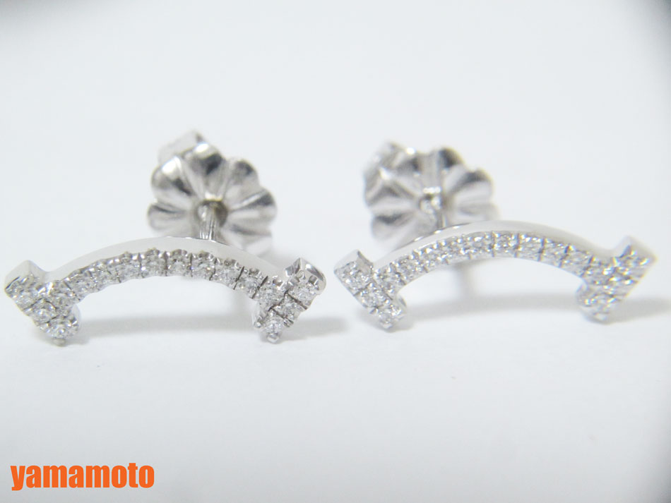 TIFFANY&CO. Tiffany ティファニー Tコレクション スマイルピアス 750 WG K18 ホワイトゴールド ダイヤ 美品 【中古】
