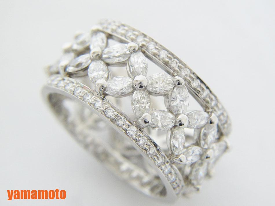 TIFFANY&CO. Tiffany ティファニー ビクトリア バンドリング 指輪 Pt950 プラチナ ダイヤ 8.5号 新品仕上げ 【中古】