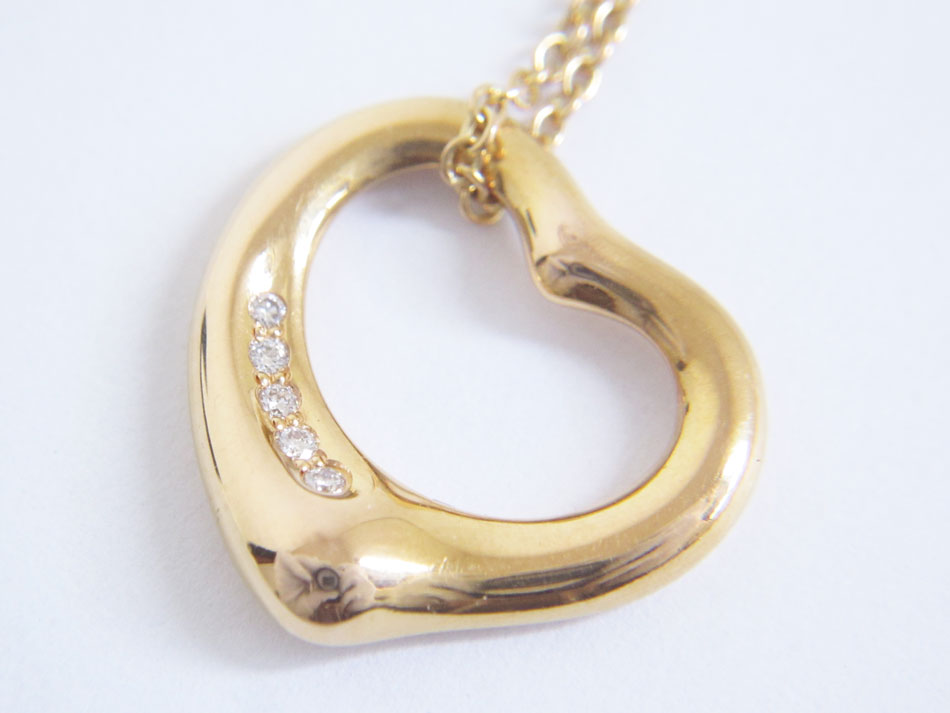 TIFFANY&CO. ティファニー オープンハート ネックレス ダイヤ 5P 750 K18 美品【中古】