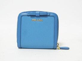 PRADA プラダ 2つ折り 財布 VITELLO MOVW FI レザー MARE ライトブルー 1ML522 新品同様【中古】