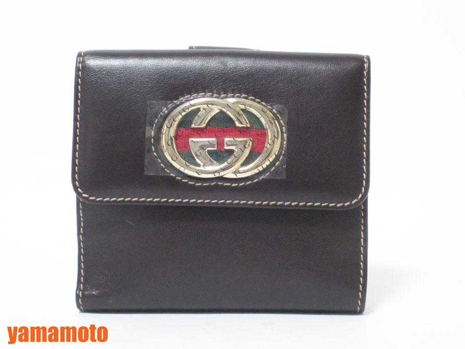 GUCCI グッチ Wホック 財布 レディース ウォレット 2つ折り ダークブラウン カーフ 162759 美品 【中古】