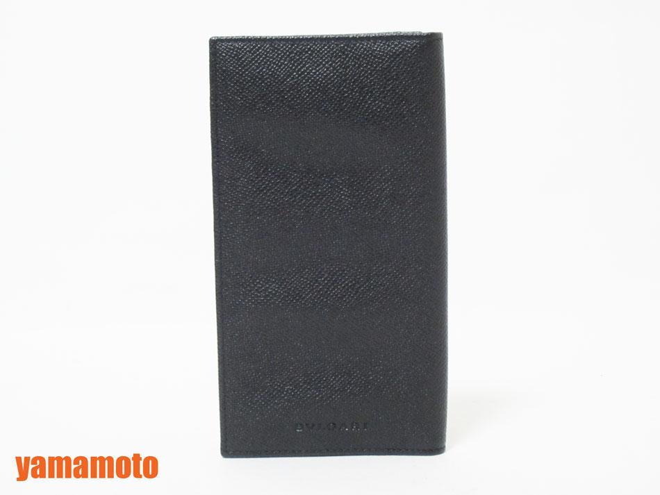 BVLGARI ブルガリ マチあり 長財布 札入れ 2つ折り クラシコ レザー ブラック メンズ 美品 【中古】