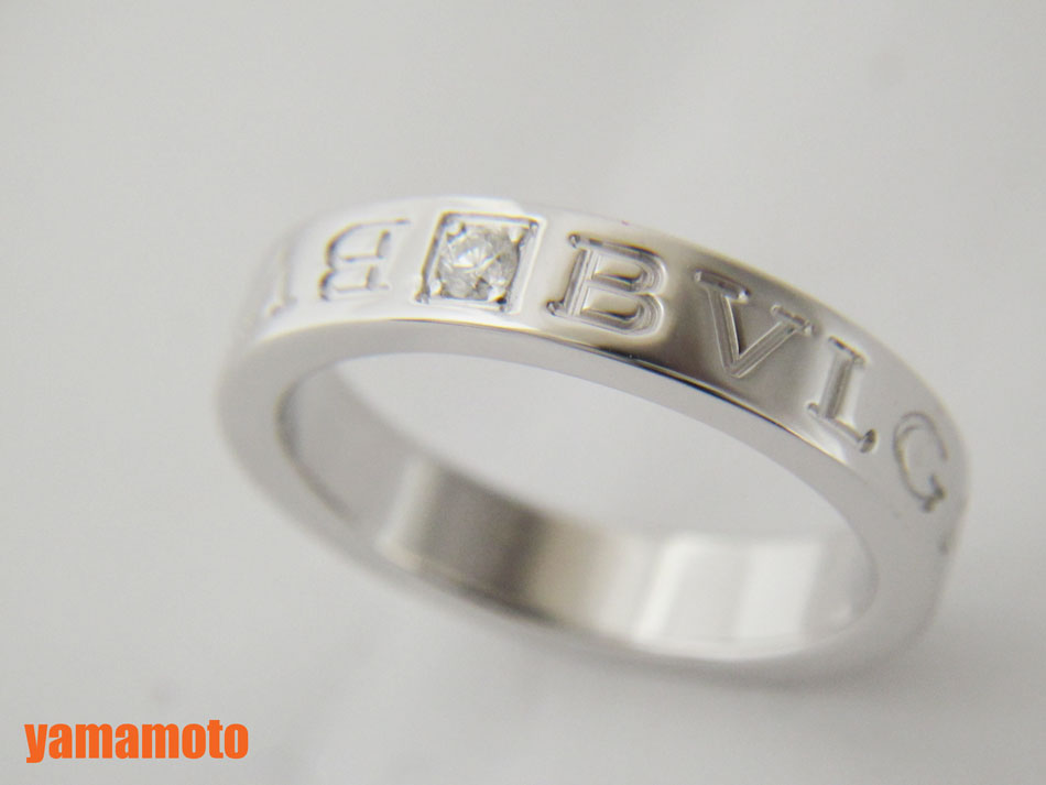 BVLGARI ブルガリ ブルガリグルガリ ダブルロゴリング 1PD ダイヤ 750 K18 WG ホワイトゴールド 美品【中古】