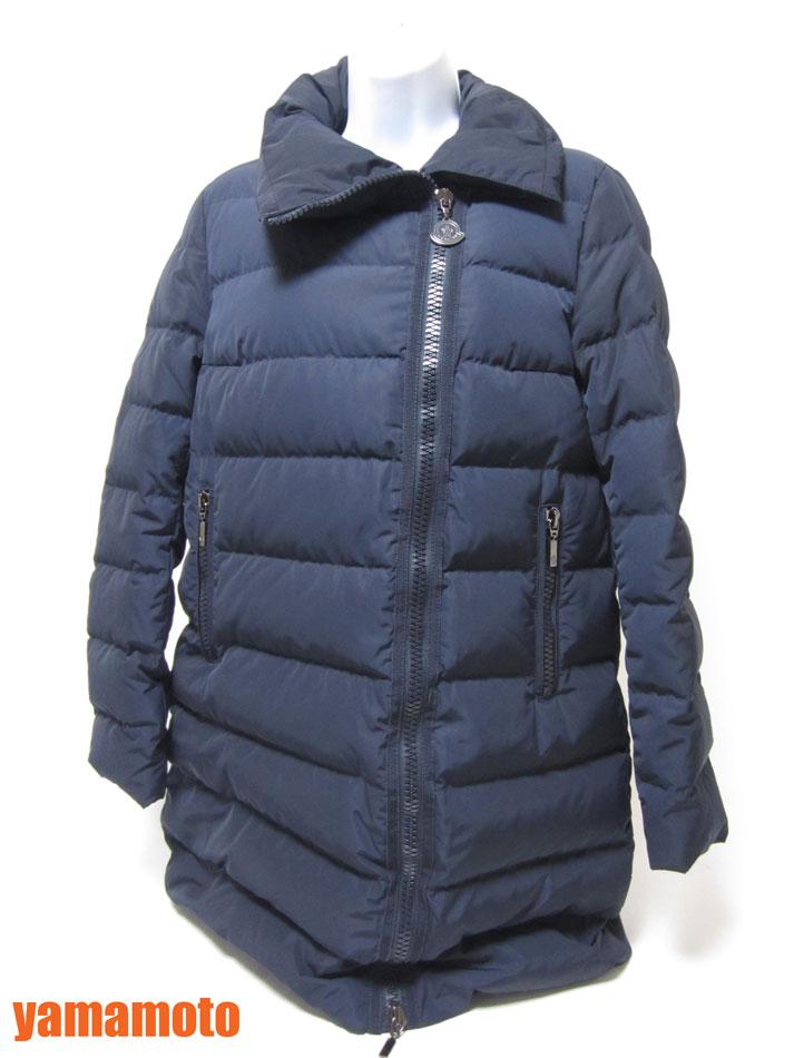 MONCLER モンクレール ダウンジャケット レディース ナイロン 羊毛 ネイビー 1 美品 【中古】