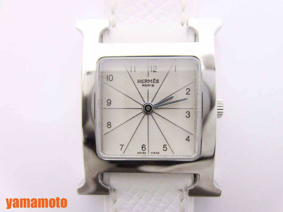 HERMES エルメス Hウォッチ レザーベルト ホワイト レディース ウォッチ 腕時計 HH1.210 新品 未使用品 【中古】