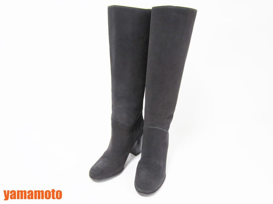 CHANEL シャネル ロングブーツ 靴 レディース ブーツ スエード グレー 381/2C G28562 12A 美品 【中古】