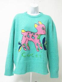 GUCCI グッチ セーター ウール 100% エメラルドグリーン バンビ 小鹿 Lサイズ 527212 美品【中古】