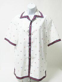 GUCCI グッチ メンズ ボーリング シャツ 半袖 ウェブトリム マルチ刺繍 ホワイト コットン サイズ44 575542 ZABNF【中古】