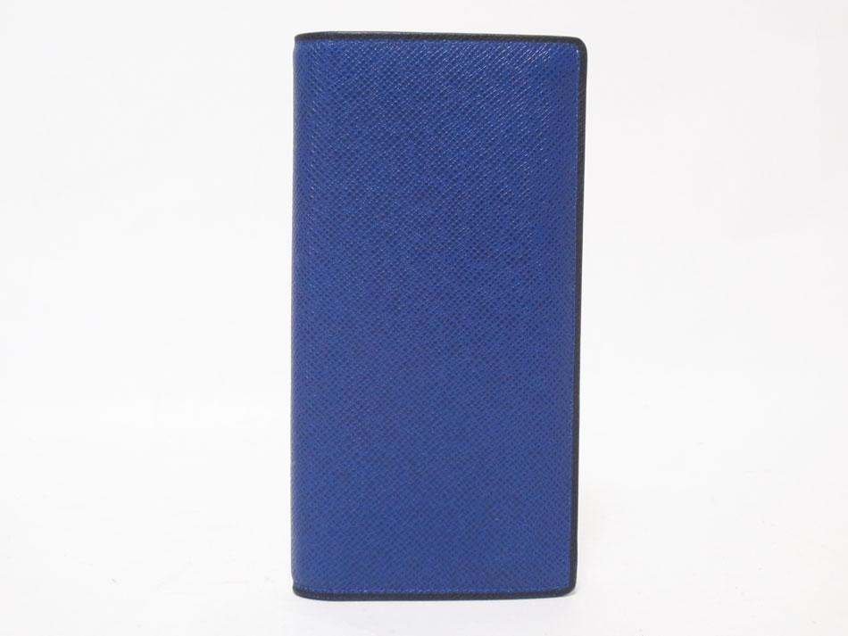 LOUIS VUITTON ルイヴィトン タイガ ポルトフォイユ・ブラザ 長財布 2つ折り メンズ ブルー イニシャル M30559 美品【中古】
