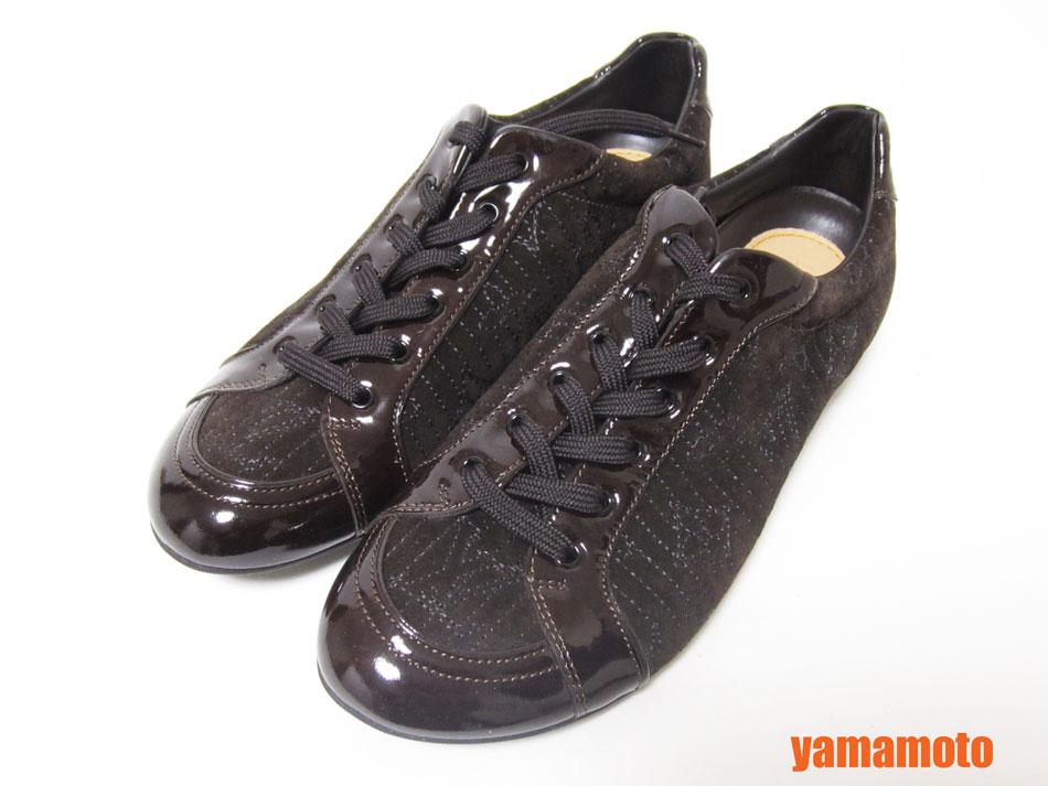 LOUIS VUITTON ルイヴィトン レディース スニーカー 靴 スエード エナメル ダークブラウン 361/2 未使用品 【中古】