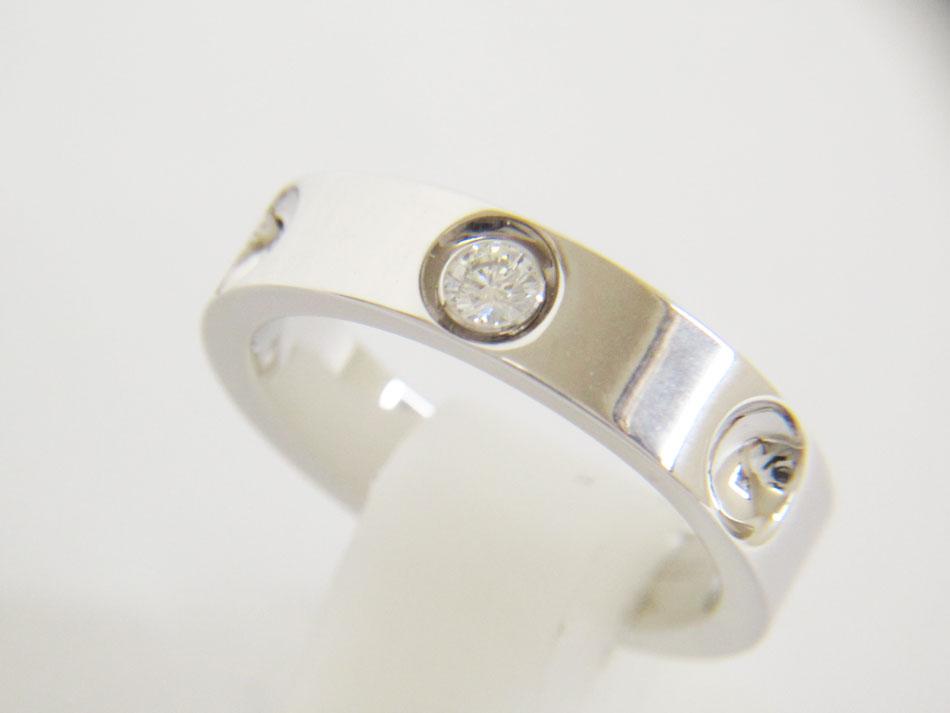 LOUIS VUTTION ルイヴィトン プティットバーグアンプラント リング 指輪 750 WG K18 ホワイトゴールド ダイヤ 1P 55 ケース付き 新品仕上げ【中古】