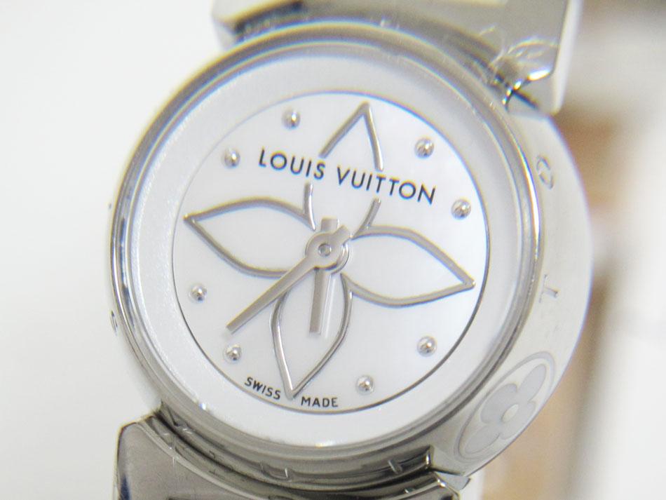 LOUIS VUITTON ルイウ゛ィトン タンブール ビジュ クォーツ QZ レディースウォッチ 腕時計 ホワイト シェル 革バンドQ151C 美品【中古】