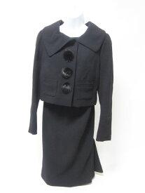 LOUIS VUITTON ルイヴィトン レディース スーツ ジャケット スカート シルク ウール ブラック 38 超美品【中古】