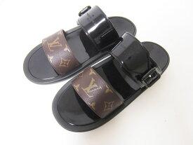 LOUIS VUITTON ルイヴィトン サンバスライン サンダル ミュール レディース モノグラム パテント ゴム ブラック 靴 40 1A66WW【中古】