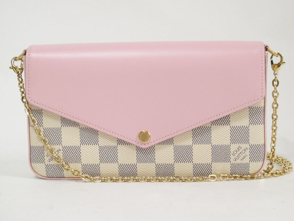 LOUIS VUITTON ルイヴィトン ダミエアズール ポシェット フェリーシーGM チェーンショルダーバッグ チェーンウォレット ポーチ クラッチバッグ ピンク N60235 新品 【中古】