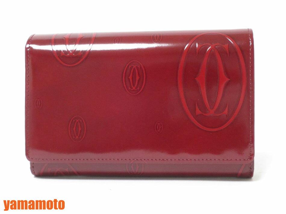 Cartier カルティエ ハッピーバースディ 2つ折り 財布 コンパクト ボルドー 美品【中古】
