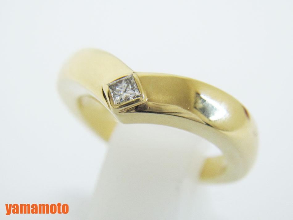 Cartier カルティエ トリアンドル リング 指輪 1Pダイヤ ダイヤモンド 750 K18 イエローゴールド 52 磨き済み 【中古】