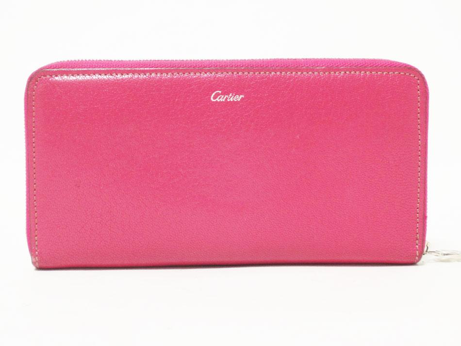 Cartier カルティエ MUST マスト ラウンドファスナー財布 レザー ピンク 長財布 シルバー金具 美品 【中古】