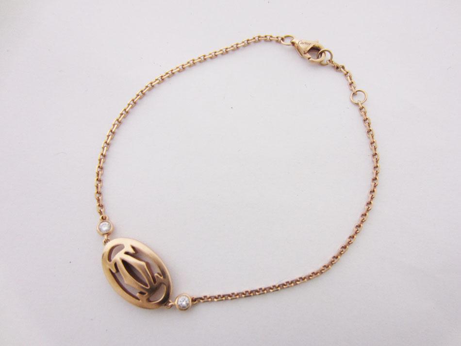 Cartier カルティエ ドゥーブルC ブレスレット ブレス ダイヤモンド 750 K18 PG ピンクゴールド【中古】