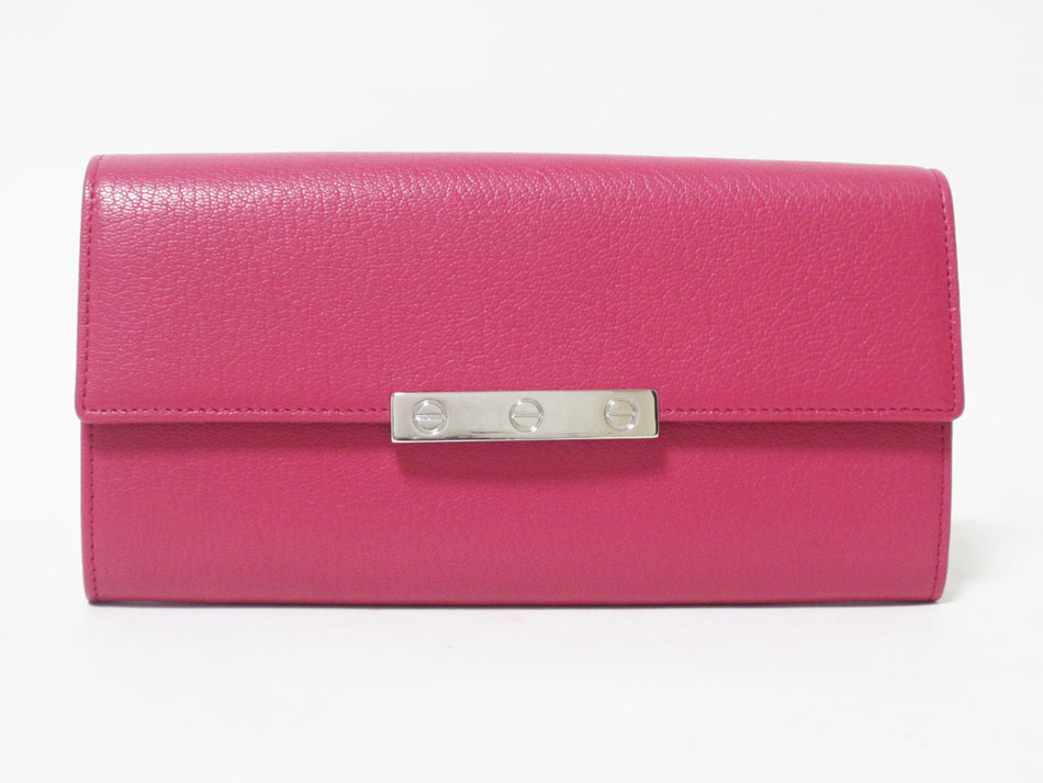 Cartier カルティエ LOVE ラブライン 長財布 ビスモチーフプレート レザー ピンク L3001376 未使用品 【中古】
