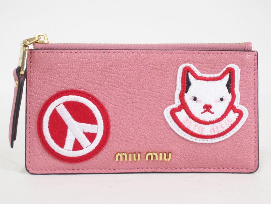 miu miu ミュウミュウ コインケース カードケース ファスナー 財布 ピンク MADRAS POP 5MB006 ROSE 美品【中古】