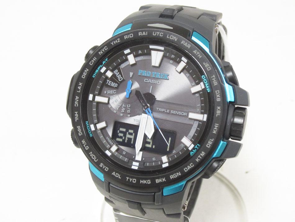 CASIO カシオ PROTREK プロトレック トリプルセンサー タフソーラー 電波 腕時計 メンズウォッチ PRW-6100Y-1AJF 美品【中古】