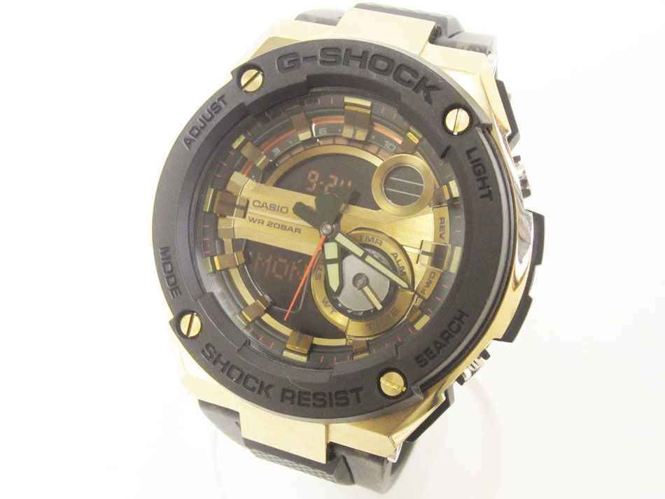 CASIO カシオ G-STEEL Gスチール クォーツ メンズウォッチ 腕時計 ゴールド GST-200CP 超美品【中古】