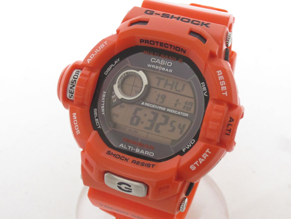 CASIO カシオ G-SHOCK Gショック RISEMAN ライズマン メンズウォッチ 腕時計 メンインレスキュー オレンジ タフソーラー 電波時計 GW-9200RJ 超美品【中古】