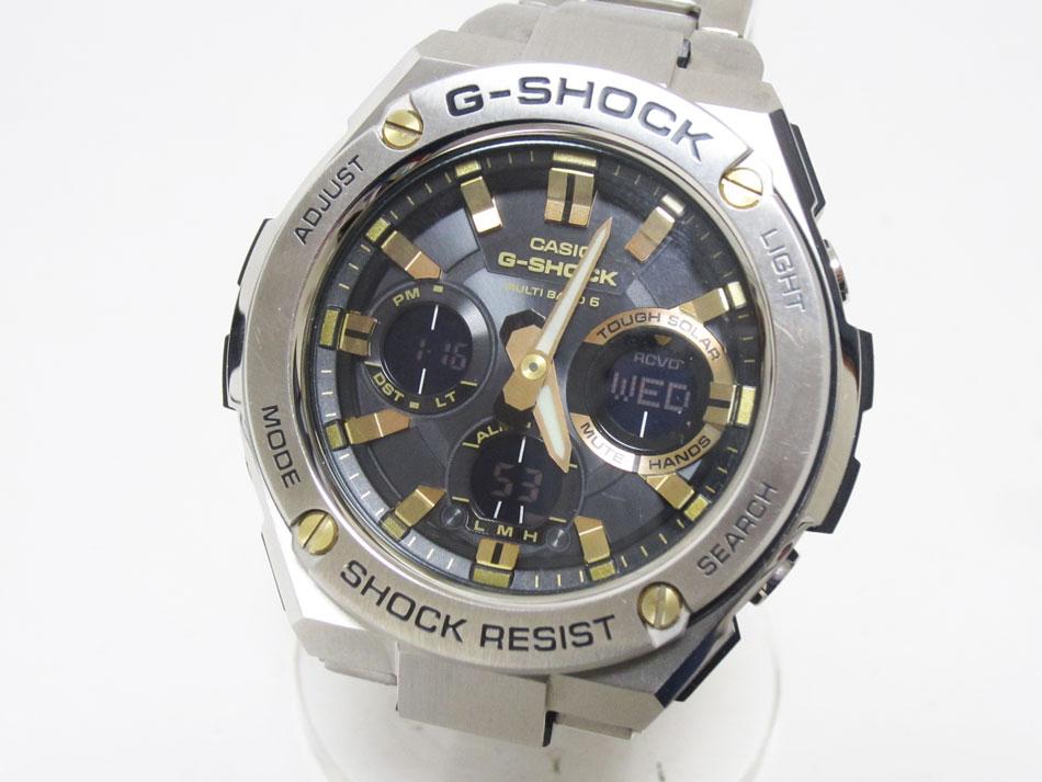 送料無料 CASIO カシオ G-SHOCK Gショック G-STEEL Gスチール メンズウォッチ タフソーラー 電波時計 腕時計 ゴールド GST-W110D-1A9JF 美品【中古】