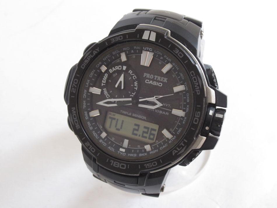 CASIO カシオ PROTREK プロトレック トリプルセンサー タフソーラー 電波 腕時計 メンズウォッチ ブラック PRW-6000YT-1JF【中古】