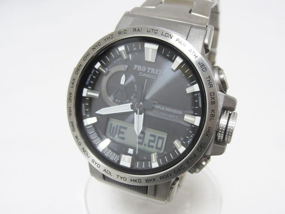 CASIO カシオ PROTREK プロトレック 電波ソーラー メンズ 腕時計 Climber Line クライマーライン チタンバンド PRW-60T-7AJF 美品【中古】