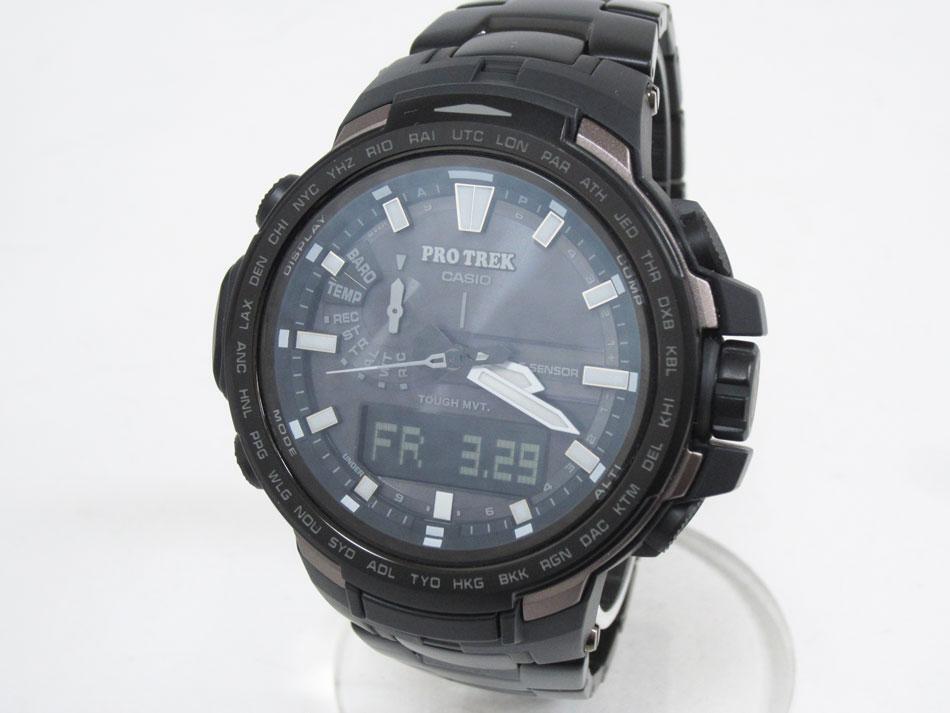 CASIO カシオ PROTREK プロトレック トリプルセンサー タフソーラー 電波 腕時計 メンズウォッチ PRW-6100YT-1JF 新品同様【中古】