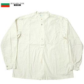 YMCLKYオリジナル ブルガリア軍タイプ 50's グランパシャツ オフホワイト 新品 JS139YN メンズ ミリシャツ パジャマシャツ 裾長 ミリタリー カジュアル