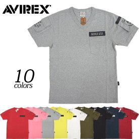 1点ならメール便可 AVIREX #6143386 Vネック ファティーグ 半袖Tシャツ メンズ 全10色 S-2XL
