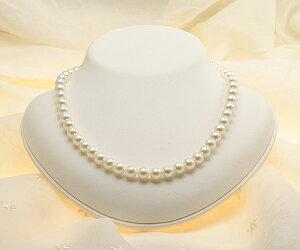 【真珠の本場伊勢志摩よりお届け】ほんのり淡いグリーンピンク♪7.5-8.0mmあこや本真珠準花珠パールネックレス(鑑別書付)【137970】