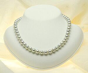 【真珠の本場伊勢志摩よりお届け】華やかシルバーグレー♪8.0〜8.5mmあこや本真珠シルバーグレーネックレス【n0021】