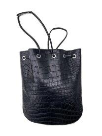 クロコダイル レザードローストリングバック 巾着 山本製鞄 メンズ 日本製 本革 ブラック