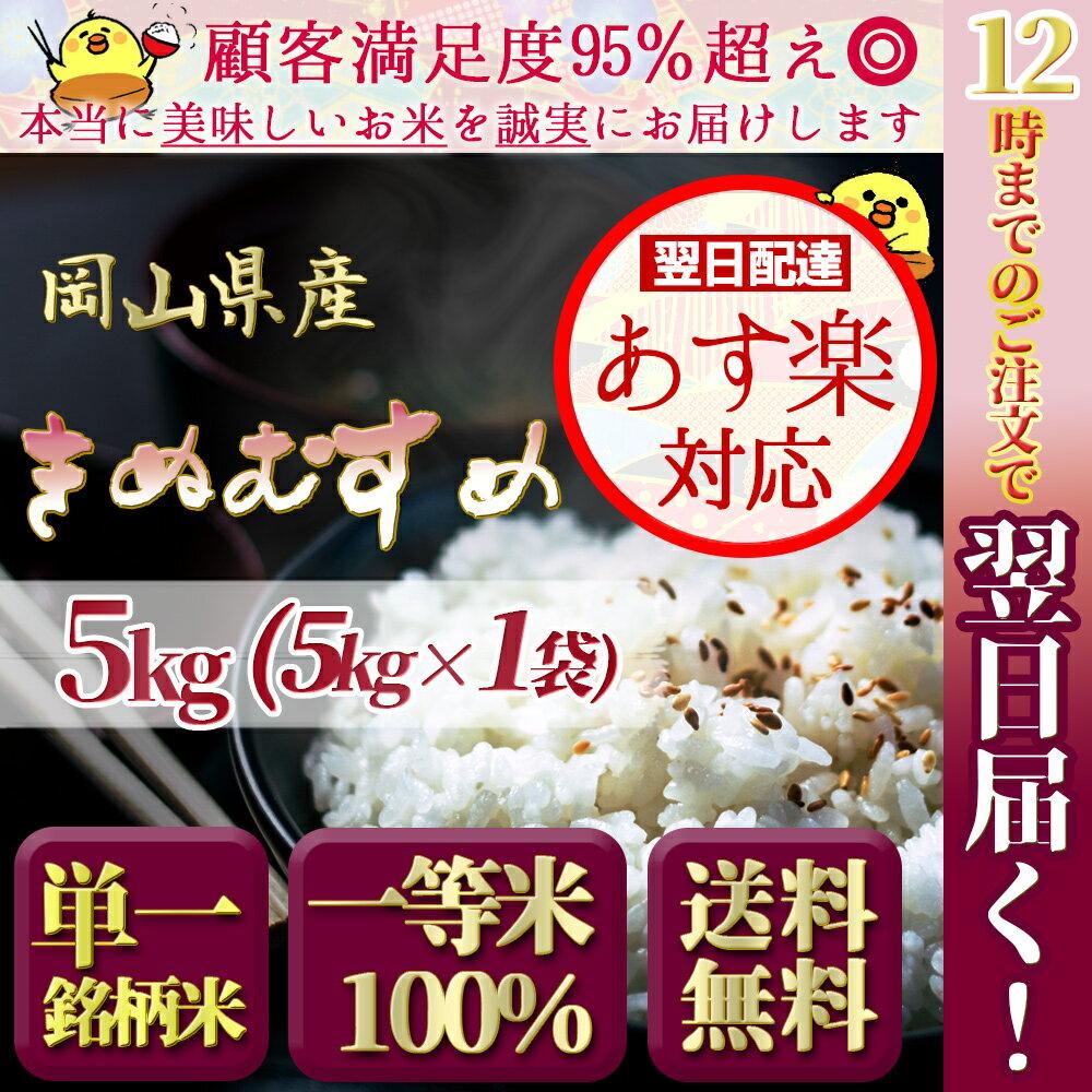 お米 送料無料 30年度新米 岡山県産 特A米 きぬむすめ 5kg 安い キヌムスメ 5キロ 一等米 最安値 あす楽 翌日配達