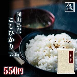 令和元年 新米 岡山県産こしひかり750g コシヒカリ ポイント消化 ぽっきり 安い 訳あり お試し お米 安い 送料無料 一等米 1kg 以下 メール便