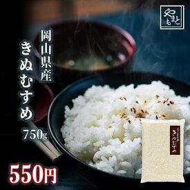 令和元年 新米 岡山県産きぬむすめ750g キヌムスメ ポイント消化 ぽっきり 安い 訳あり お試し お米 安い 送料無料 一等米 1kg 以下 メール便