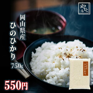 令和元年 新米 岡山県産ひのひかり750g ヒノヒカリ ポイント消化 ぽっきり 安い 訳あり お試し お米 安い 送料無料 一等米 1kg 以下 メール便